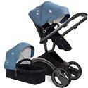 Детская коляска 2 в 1 Adamex Monte Deluxe Carbon 54S эко-кожа