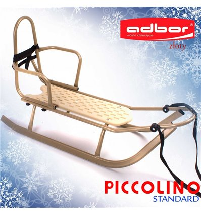 Санки Adbor Piccolino со спинкой золотые