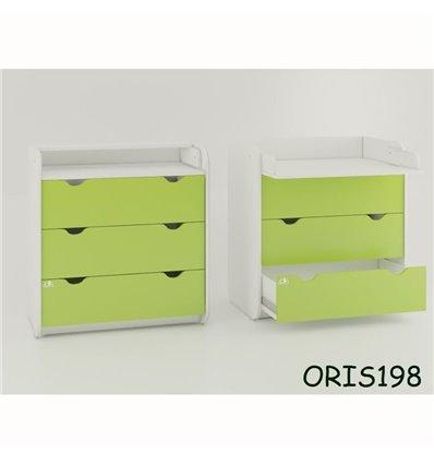 Комод-пеленатор Oris на 3 ящика зеленый