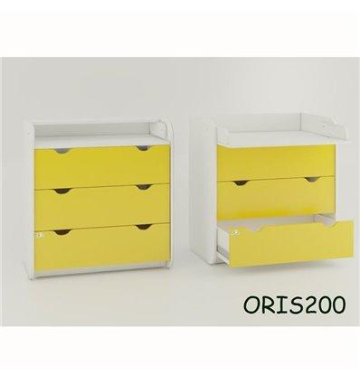 Комод-пеленатор Oris на 3 ящика желтый