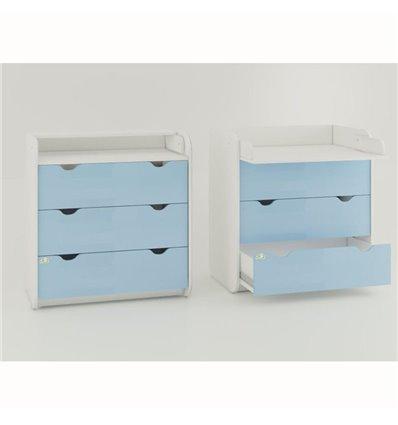 Комод-пеленатор Oris на 3 ящика голубой