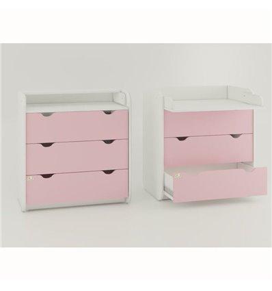 Комод-пеленатор Oris на 3 ящика розовый