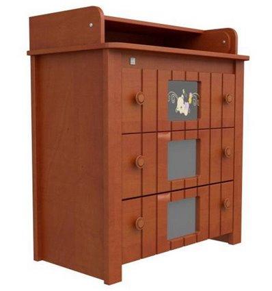 Комод-пеленатор Верес с декором Мишка на стекле 24.02, Цвет - ольха