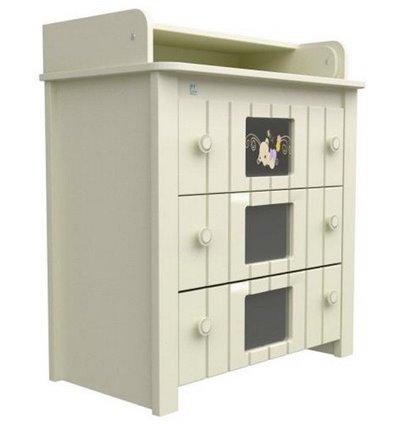 Комод-пеленатор Верес с декором Мишка на стекле 24.04, Цвет - сл. кость