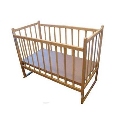 Кроватка КФ с опускаемой боковиной и качалкой. Без лака.