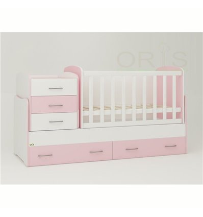 Детская кроватка-трансформер Oris Afina бело-розовый