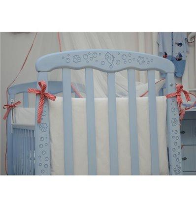 Кроватка Верес Соня ЛД1, Цвет-патина морская лазурь резьба