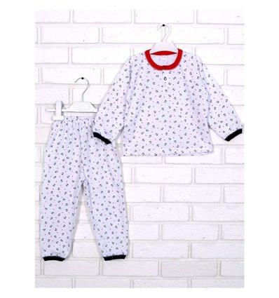 Пижама Татошка 01102 белый/синий/красный/принт якоря и звезды