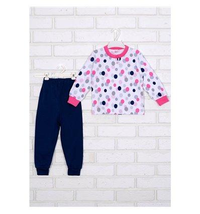 Пижама Татошка 01602 белый/синий/розовый/принт круги