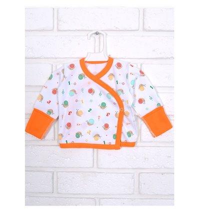 Сорочечка Татошка 09653 білий-оранжевий-принт равлики