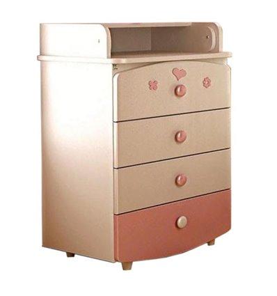 Комод-пеленатор Верес слим 600 мм 26.08, Цвет - бело-розовый