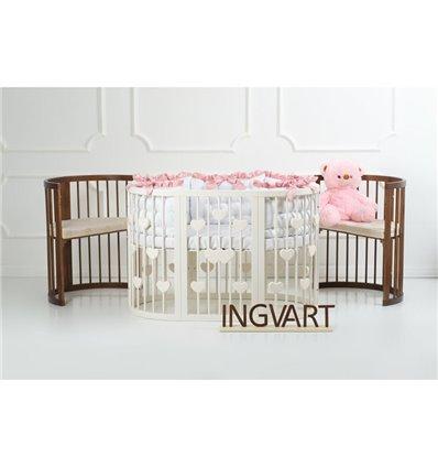 Овальная кроватка-трансформер IngVart Baggybed с сердечками