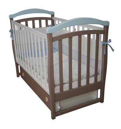 Дитяче ліжечко Верес Соня ЛД6 з маятником і шухлядою капучіно-голубий