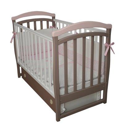 Дитяче ліжечко Верес Соня ЛД6 з маятником і шухлядою капучіно-рожевий