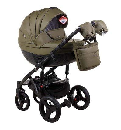 Детская коляска 2 в 1 Adamex Monte Deluxe Carbon 58S эко-кожа