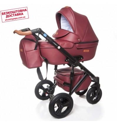 Детская коляска 2 в 1 Broco Capri эко кожа бордовая
