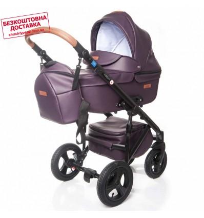 Детская коляска 2 в 1 Broco Capri эко кожа сливовая