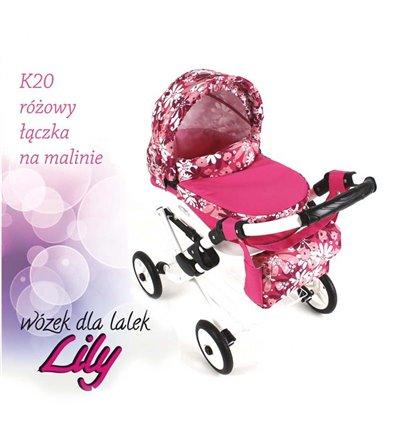 Коляска для куклы Adbor Lily K20 розовый цветы на малиновом