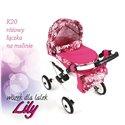 Коляска для ляльки Adbor Lily K20 рожевий квіти на малиновому