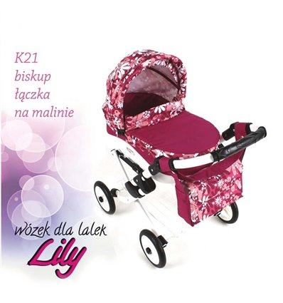 Коляска для куклы Adbor Lily K21 малиновый цветы на малиновом
