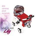 Коляска для ляльки Adbor Lily K23 червоний Париж на сірому