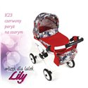 Коляска для куклы Adbor Lily K23 красный Париж на сером