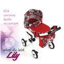 Коляска для ляльки Adbor Lily K24 червоний квіти на чорному