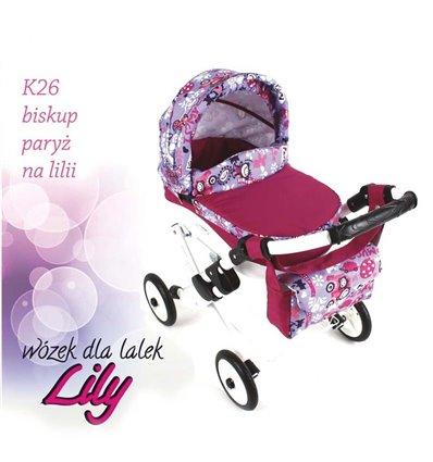 Коляска для ляльки Adbor Lily K26 малиновий Париж на бузковому