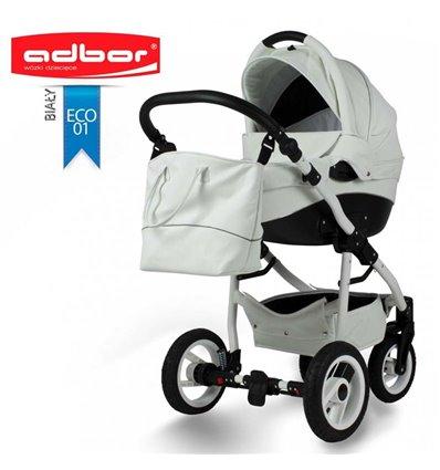 Дитяча коляска 3 в 1 Adbor Nemo Exclusive 01 еко-шкіра біла