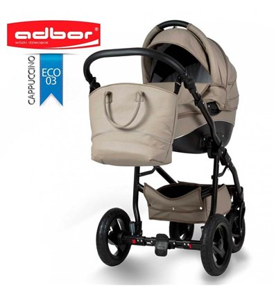 Детская коляска 3 в 1 Adbor Nemo Exclusive 03 эко-кожа капучино