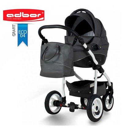 Детская коляска 3 в 1 Adbor Nemo Exclusive 04 эко-кожа графит