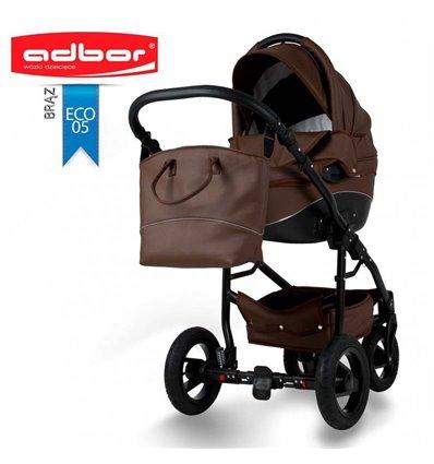 Дитяча коляска 3 в 1 Adbor Nemo Exclusive 05 еко-шкіра коричнева