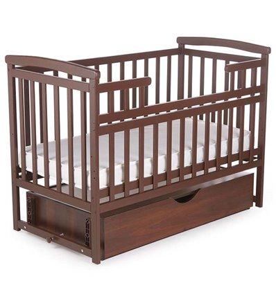 Кроватка Дитячий сон с маятником и ящиком орех