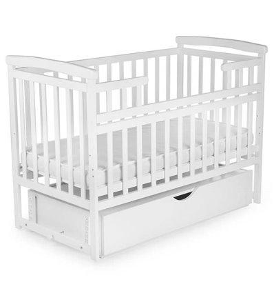 Кроватка Дитячий сон с маятником и ящиком белая
