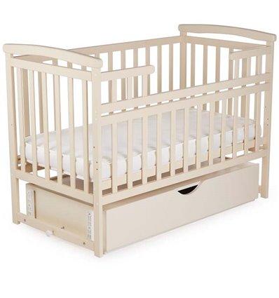 Кроватка Дитячий сон с маятником и ящиком слоновая кость