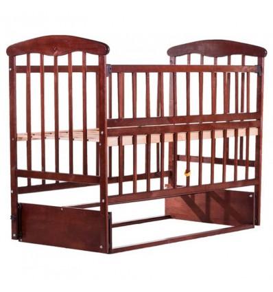 Кроватка Наталка с откидной боковиной и маятником темная
