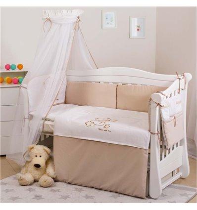 Детский постельный комплект Twins Dolce 8 элементов D-009 Loving Bear white-beige