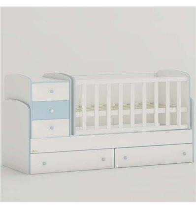 Детская кроватка-трансформер Oris Maya New бело-голубой
