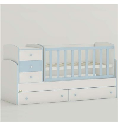 Детская кроватка-трансформер Oris Maya New бело-голубой, цветное быльце