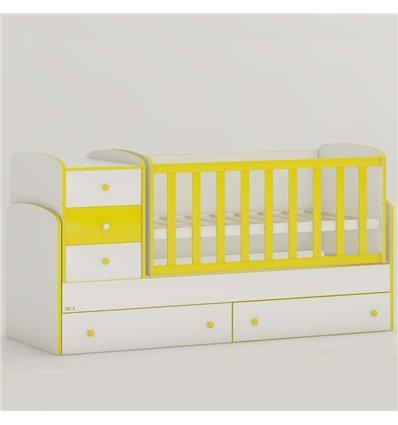 Детская кроватка-трансформер Oris Maya New бело-желтый, цветное быльце