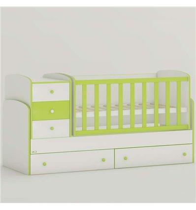Детская кроватка-трансформер Oris Maya New бело-зеленый, цветное быльце