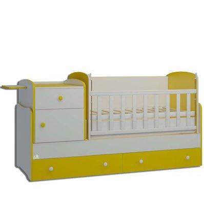 Детская кроватка-трансформер Oris Metida Lux бело-желтый