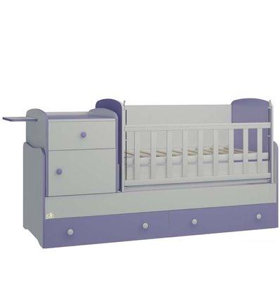 Детская кроватка-трансформер Oris Metida Lux бело-лиловый
