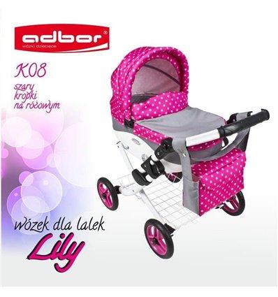 Коляска для куклы Adbor Lily K08 серый горошек на розовом