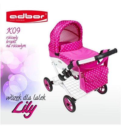 Коляска для куклы Adbor Lily K09 розовый горошек на розовом