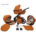 Детская коляска 2 в 1 Mikrus Safari Cross 04 Cognac эко кожа