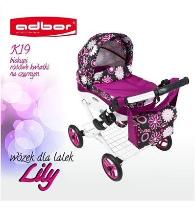 Коляска для куклы Adbor Lily K19 малиновый цветы на черном