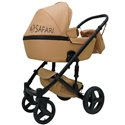 Детская коляска 2 в 1 Mikrus Safari Cross 16 Caffe эко кожа