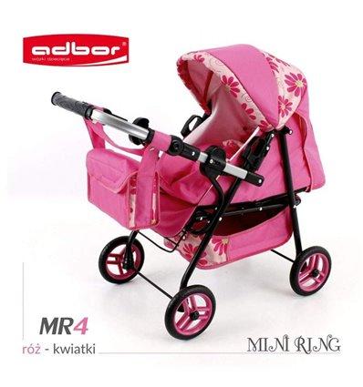 Коляска для куклы Adbor Mini Ring MR4 розовый цветы на кремовом