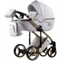 Детская коляска 2 в 1 Adamex Luciano Gold Q-107 белая эко кожа